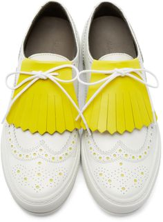 Robert Clergerie White Brogue Tolka Sneakers