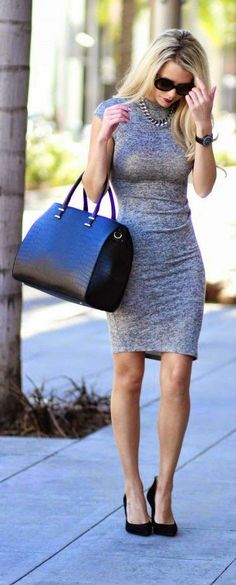 """Miranda Dress"" - Grey Knee Length Body-con Dress, Jessica Simpson Shoes, Black Leather Handbag."