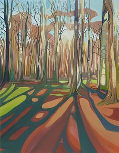 Anna Dillon the Artist - Fugsdon Wood Abstract Landscape, Landscape Paintings, Landscape Illustration, Illustration Art, Shadow Art, A Level Art, Tree Art, Painting Inspiration, Images