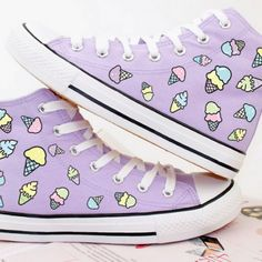 Ice cream print canvas shoes