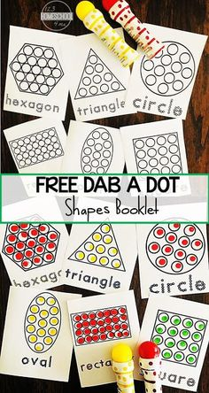 FREE DO a Dot Shapes Worksheets - Make these LOW PREP, free printable shapes worksheets into a booklet. Great for motor skills, learning shape names and shape. Perfect for toddler, preschool, prek, kindergarten, and first grade kids.