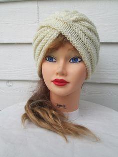 Knit Turban hat womens winter hat turban beanie by Ritaknitsall