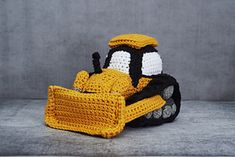 This bulldozer loves to get down and dirty when building mighty ramps and pushin. Crochet Car, Crochet Toys, Imagination Toys, Popular Crochet, Color Combinations For Clothes, Baby Mobile, Like Animals, Stuffed Animal Patterns, Practical Gifts