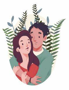 Paar Illustration, Family Illustration, Portrait Illustration, Character Illustration, Graphic Design Illustration, Digital Illustration, Illustrator, Couple Drawings, Couple Goals