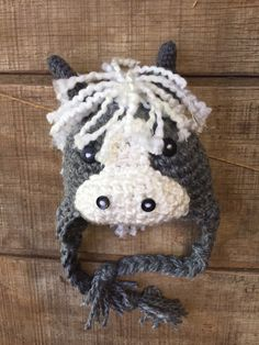 A personal favorite from my Etsy shop https://www.etsy.com/listing/234048415/pony-hat-crochet-pony-hat-horse-hat