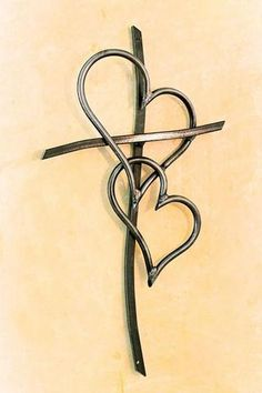 Double Heart Cross tattoo design would love to have on the back of my neck! (Gonna see if I can talk my mom into getting this as a tattoo. She can get a small heart for each kid. She talks a big game like she wants a tattoo.we'll see. Et Tattoo, Tattoo Hals, Neue Tattoos, Body Art Tattoos, Tatoos, Heart Foot Tattoos, Heart Tat, Faith Tattoos, Bow Tattoos