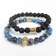 Find More Strand Bracelets Information about 2015 New Design High Grade Men Jewelry 8mm Black Lava stone and Blue Sea Sediment Stone Bead with 24K Gold Skull Bracelet,High Quality beaded jewelry bracelets,China bead slide Suppliers, Cheap jewelry crimp beads from -LINKS on Aliexpress.com