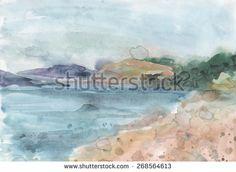 Watercolor sea, waves, mountains, landscape, beach illustration - stock photo