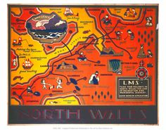 north wales size: Giclee Print: North Wales LMS : The Giclee printing process delivers a fine stream of ink resulting in vivid, pure color and exceptional detail that is suitable f Wales Map, National Railway Museum, Framed Artwork, Wall Art, Railway Posters, Poster Prints, Art Prints, North Wales, Ways Of Seeing