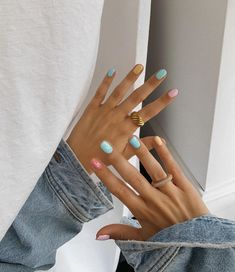 Funky Nails, Cute Nails, Pretty Nails, Manicure Y Pedicure, Gel Nails, Acrylic Nails, Nail Polish, Multicolored Nails, Funky Fingers