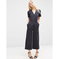 ea67b81509d6 ASOS Wrap Front Jumpsuit ( 76) ❤ liked on Polyvore featuring jumpsuits