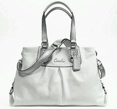 NWT-Coach-Ashley-carryall-purse-handbag-white-silver-F15513: $155