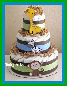 Jungle Diaper Cake. $42.00, via Etsy.