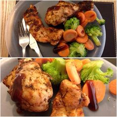 Healthy Bodybuilding Meal - grilled chicken with broccoli and carrots
