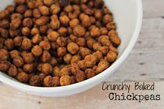 Crunchy Baked Chickpeas - these are SO delicious (I don't even like Chickpeas) - they taste like corn nuts!!!  YUM!!!