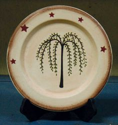 Primitive Willow Tree Plate - Decorative Plates and Bowls - Primitive Decor - MARTHA Primitive Plates, Primitive Homes, Primitive Kitchen, Primitive Crafts, Country Primitive, Painted Plates, Wooden Plates, Decorative Plates, Primitive Painting