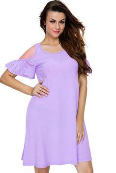 Summer Lilac Naughty Cute Cold Shoulder Short Dress MB22988-8 – ModeShe.com Cheap Dresses, Sexy Dresses, Casual Dresses, Short Dresses, Mini Dresses, Party Dresses, Sexy Outfits, Casual Outfits, Women's Fashion Dresses