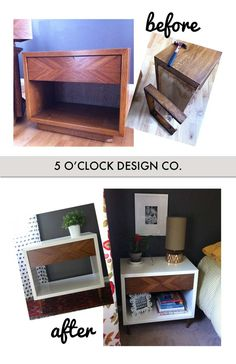 Night Stand/End Table Makeover // DIY // Mid Century // Wood and White