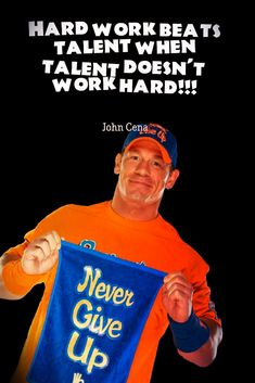 The storyline with John Cena for this Wrestlemania has been pretty good. This is exactly how WWE should have booked him. He simply doesn't need to get in some feud just for the sake of getting to the Mania and having a match Undertaker, John Cena, Never Give Up, Work Hard, Wwe, Motivational Quotes, Challenges, Training, Working Hard