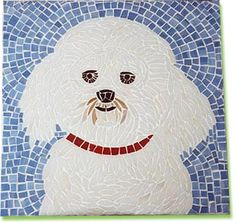 Custom bichon frise mosaic dog portrait by CreativeArfs.com
