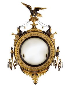 A Regency Period Giltwood & Ebonised  Girandole Convex Mirror