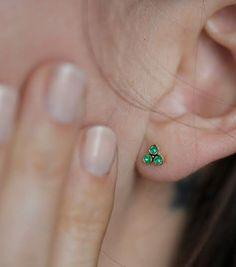 Rose Gold Emerald Earrings Stud Tiny By Minimalvs