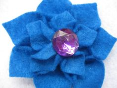 Medium Blue Felt Dahlia Hair Flower  Accessory with Purple Circle Gem! $5 from my Etsy Shop - Cortnie's Corner