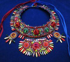 statement necklace crystal necklace bohemian by MashaBitterJewelry