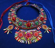 statement necklace crystal necklace bohemian by MashaBitterJewelry