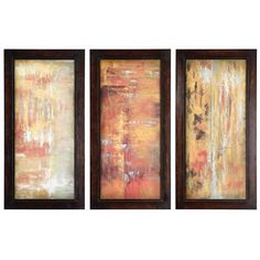 Sunlight Reflections: 19.25 x 38.375 Framed Oil Reproductions, Set of Three