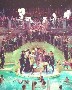 The movie, The Great Gatsby by Baz Luhrmann (2013), has splendid sets showing  New York high society. Excited to post this movie!
