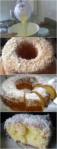 Bolo de Coco de Liquidificador,SIMPLES E DELICIOSO!! VEJA AQUI>>>Bater no liquidificador os ovos, o leite condensado, 1 xícara do coco ralado (reserve 1/2 xícara), a margarina e a farinha de trigo até ficar homogêneo #receita#bolo#torta#doce#sobremesa#aniversario#pudim#mousse#pave#Cheesecake#chocolate#confeitaria