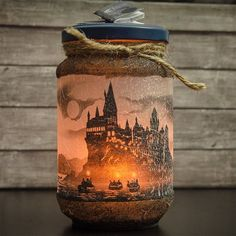 Wizardry School Candle Holder - Halloween Candles - Halloween Decor - Halloween Decorations - Fantasy Decor - Fantasy Candle Holder halloweendecorations Fantasy candle holder inspired by our favourite wizardry school perfect for Halloween Decorations Objet Harry Potter, Décoration Harry Potter, Mason Jar Crafts, Bottle Crafts, Mason Jars, Halloween Tags, Halloween Crafts, Candle Making Business, Handmade Home Decor