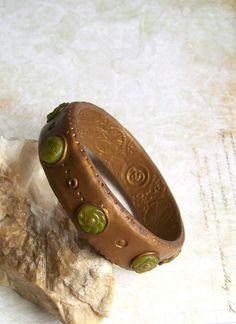 Bohemian bangle bracelet green and bronze polymer clay bracelet sea glass stones