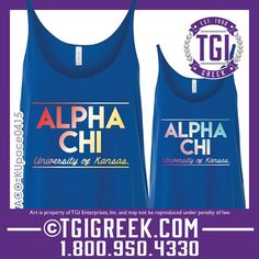 TGI Greek - Alpha Chi Omega - Sorority PR - Tank - Greek T-shirts - The University of Kansas