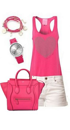 Celine Luggage Handbag Small 26CM in Fucshia.. I would change the shorts to a knee length skirt though