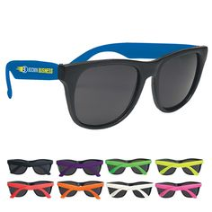 Promotional Rubberized Promotional Sunglasses #advertising #promotionalproducts #sunglasses | Customized Sunglasses | Promotional Sunglasses New color, now available in #purple