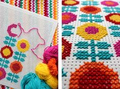Embroidery with wool at felt. By handwerkjuffie.