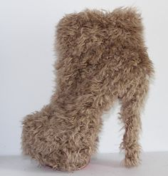 Free Shipping lighgt brown real fur round toe thick high heel boots Sexy red bottom 16cm  platform fashion warm snow boots on AliExpress.com. 15% off $80.75