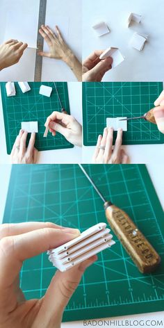 Tutorial: How to Make a Tiny Leather Book Necklace — Dear Summit Supply Co. Book Crafts, Paper Crafts, Bookbinding Tutorial, Book Necklace, Leather Books, Leather Book Binding, Handmade Books, Handmade Journals, Handmade Crafts