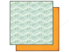 Echo Park Bicycle Bliss Paper from the Summer Bliss Collection is double-sided scrapbook paper designed by Lori Whitlock. One side has an Aqua background with a pattern of clouds and bicycles with pennant banners and baskets of flowers, that run in diagonal rows across the page. Colors include Red, Pink, Yellow, Teal, Orange, and White. The reverse side has a chevron pattern in tone-on-tone Orange. Both sides are slightly distressed. Acid and lignin free. 65 lb. 12 x 12 inch.