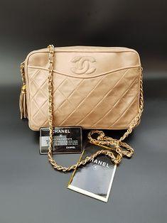31f077a8b94 CHANEL Bag. Chanel Vintage Beige Quilted Leather Shoulder Camera Bag with  Tassel. French designer purse