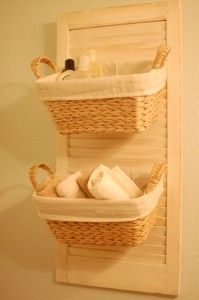 My newest creation - a basket organizer made from an old wooden shutter! Easy and cute!
