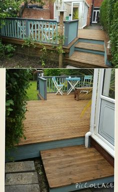 Rejuvenated colourful decking patio area. Treated with ronseal country oak and painted with homebase smokey slate and gentle sage.