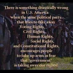 "There is something drastically wrong in US America when the same political party that tries to take away Voting Rights, Civil Rights, Human Rights, Social Rights and Constitutional Rights, encourages people to take up arms in fear that ""government"" is taking away our rights!"