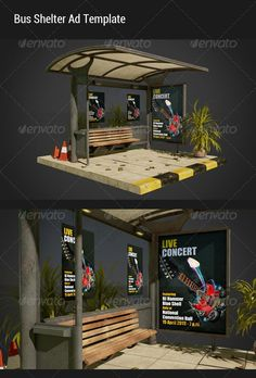 Buy Bus Shelter Ad Mock-Ups by CaelumStudio on GraphicRiver. Realistic visualization for your bus shelter ad design. Features : Two different views of bus shelter ad template. Urban Furniture, Street Furniture, Shed Design, Wall Design, Bus Stop Advertising, Bus Stop Design, Bus Stand, Bus Shelters, Shelter Design