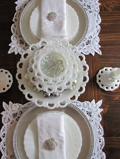 milk glass and Battenberg lace. @karen Bonds -have you seen plates like these? How pretty! I love the milk glass in the middle, with the scalloped edges.