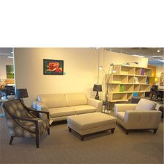 White leather set. Sofa, Chair, Ottoman and Accent chair.