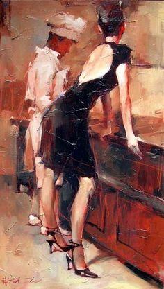 """André Kohn, jeune peintre russe né à Stalingrad en 1972. Sa première exposition a créé un vif intérêt. Ses oeuvres sont néo-impressionnistes. André Kohn s'efforce de """"trouver de l'extraordinaire dans l'ordinaire"""" et exprime avec génie les formes humaines. J'aime toutes ses toiles."""