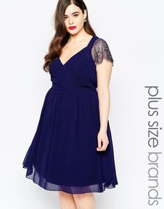 Little+Mistress+Plus+Plunge+Skater+Dress+With+Embellished+Sleeves